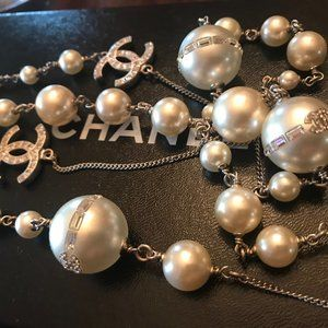 Chanel CC Pearl and Crystal Long Necklace